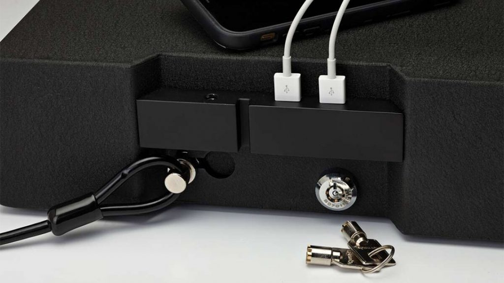 The RAPiD Safe features two USB ports and a mechanical key on the backside.