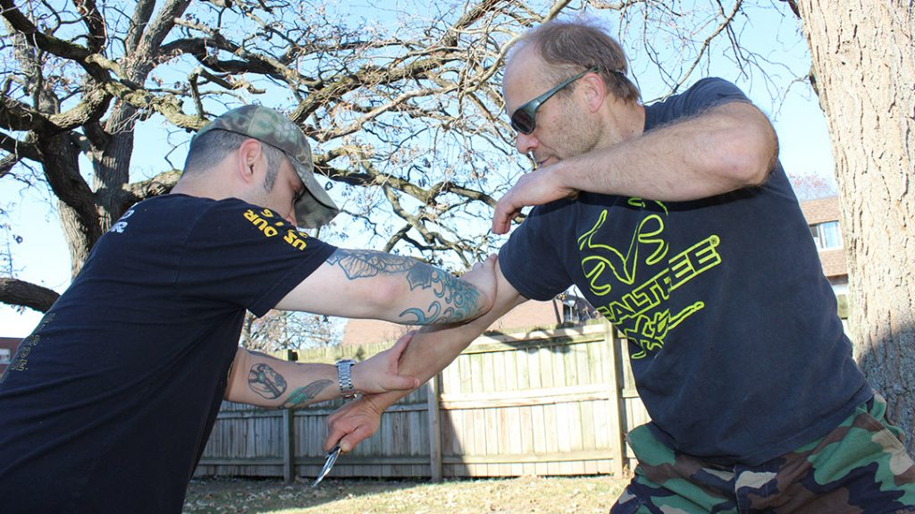 In knife defense, it is vital to control the limb that controls the weapon. If the limb is disabled, so is the knife.