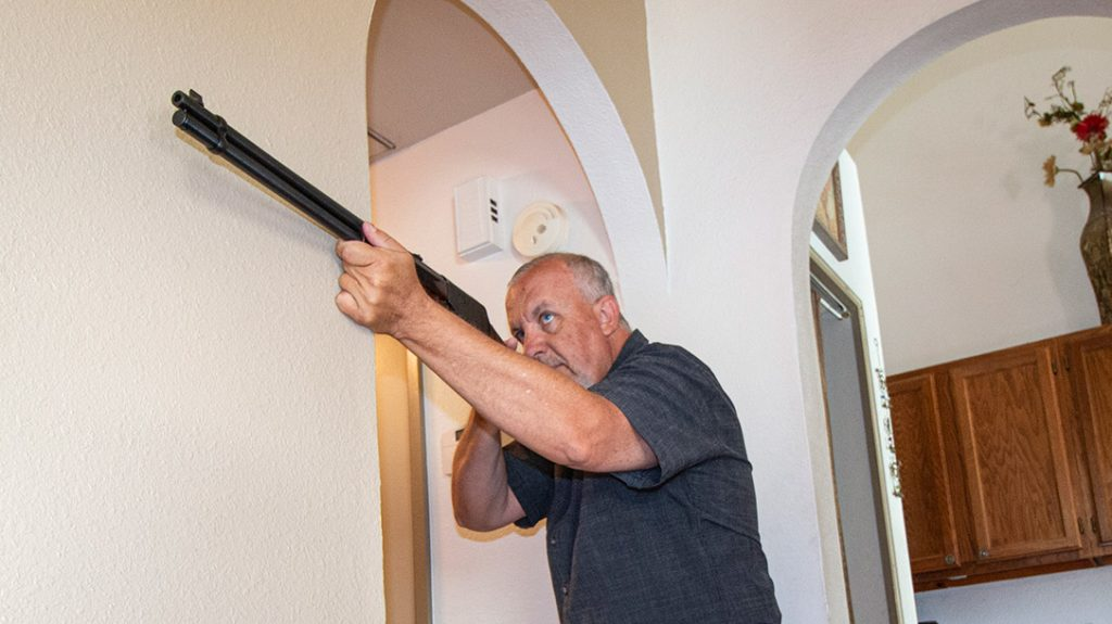 With practice—with an empty chamber, of course—you can learn to maneuver your home very well with a lever-action.