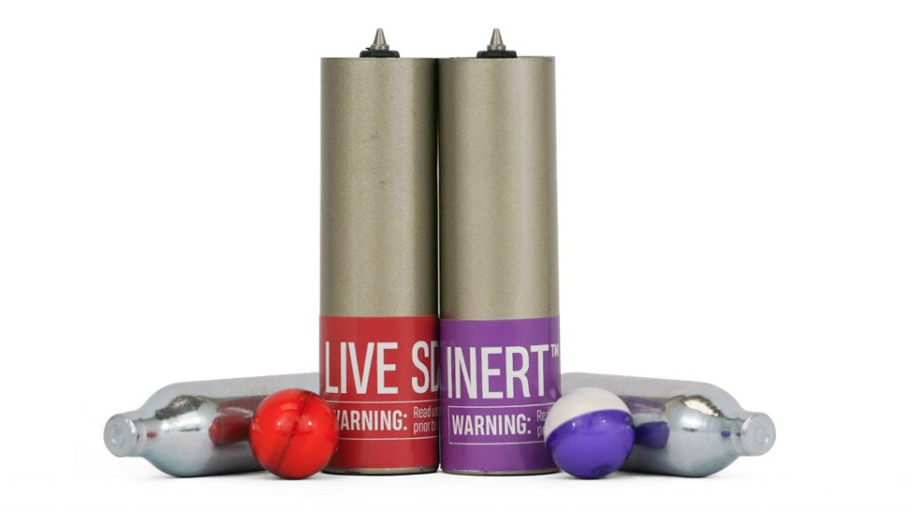 All PepperBall units are powered by compressed gas cartridges and fire both inert and live ammo.