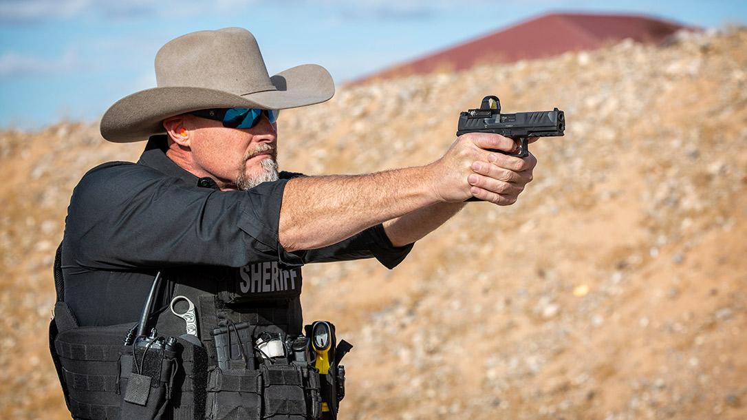 Sheriff Mark Lamb shoots a Walther Performance Duty Pistol.
