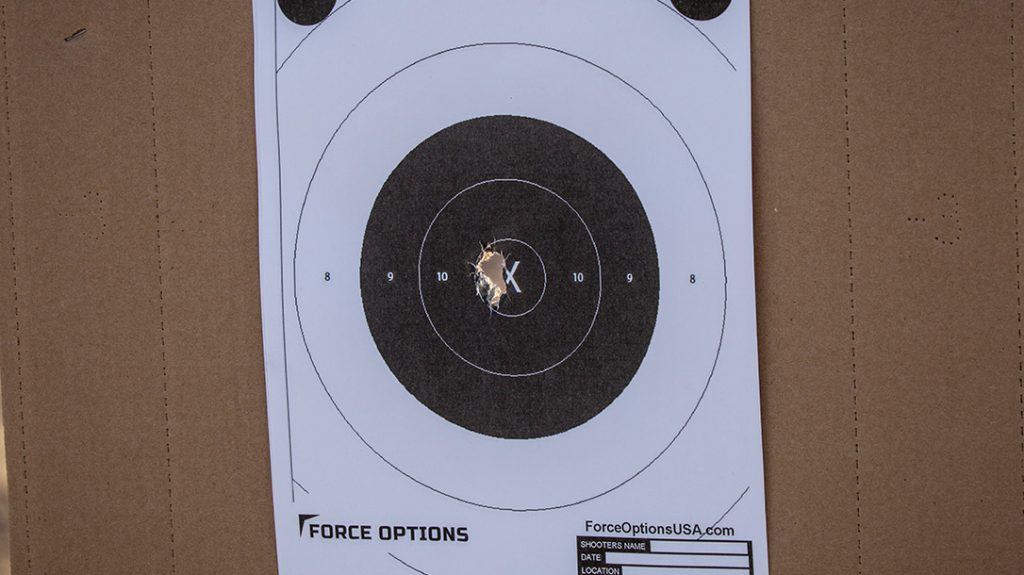 Sheriff Mark Lamb achieved a very tight group with the Walther PDP.