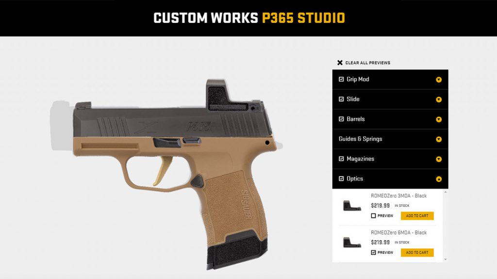 The finished Sig Sauer P365 FCU custom build in the Studio.