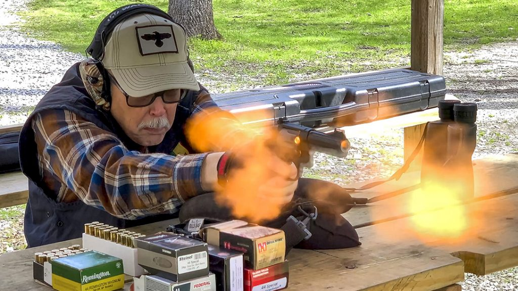 To test for accuracy potential, I shot three 20 yard, five-shot groups with each cartridge, from the bench, in single-action.