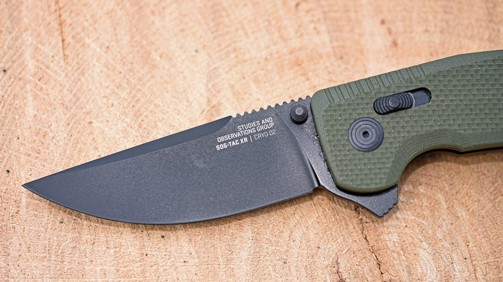 The SOG-TAC XR features a drop point blade.