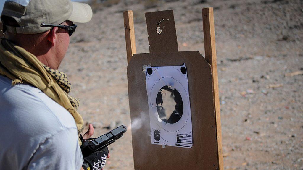 Close quarters combat shooting practice.