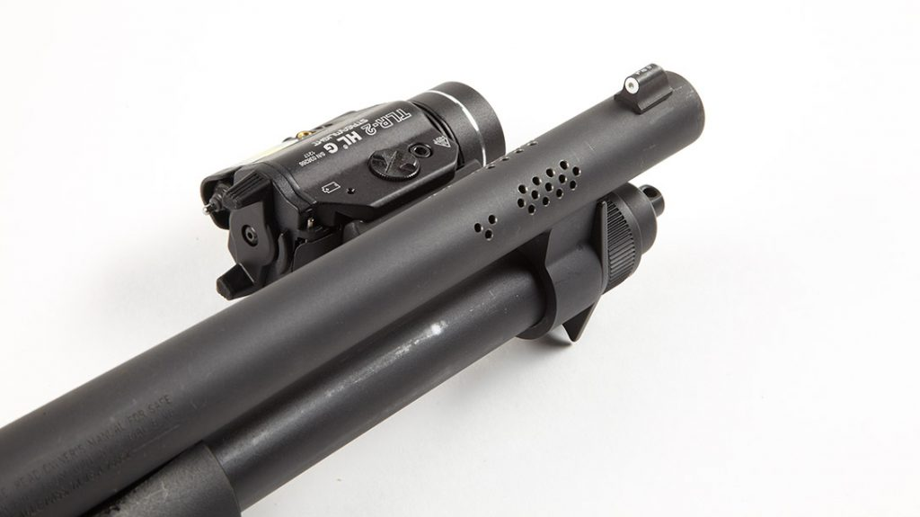 The XS Big Dot and the Vang Comp modifications with oversize safety add excellent usability. This makes the Mossberg 590 Shockwave 20-Gauge ideal for defense.