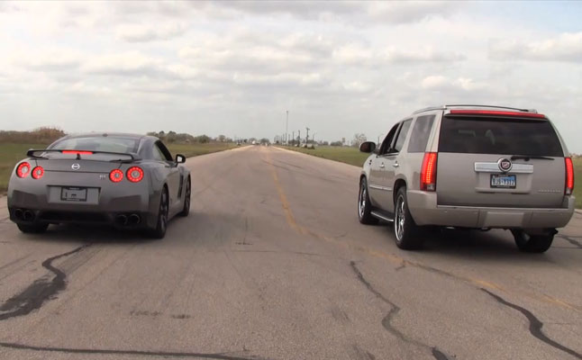 rides cars hennessey-cadillac-escalade-1000-horsepower-nissan-gt-r