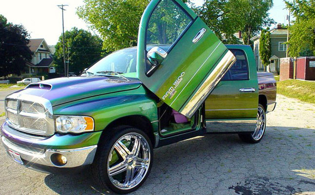 rides cars dodge ram green purple