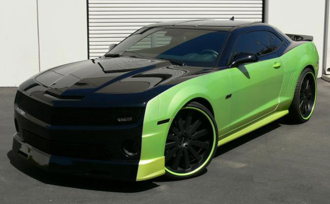 rides cars chevy camaro 2010 black green chevrolet