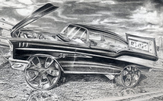 rides cars drawings art robert carr carabelle florida fl