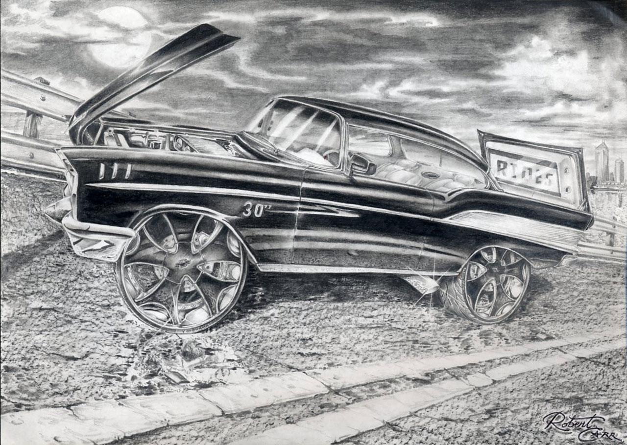 Rides Cars Drawings Art Robert Carr Carabelle Florida Fl Bel Air Chevy