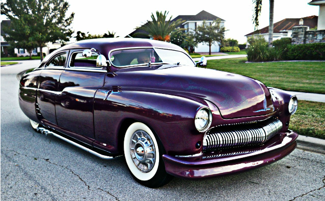 1950, mercury, merc, wanderer, purple,sedan, featured-hp, 4-door, flake paint, ghost flames, chopped, lowrider, hotrod, rides