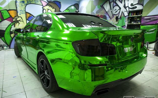 rides, green, chrome, bmw, 550i, f10, m series, sport, sedan, hulk, re-styling, russia, wrap, beamer, bimmer