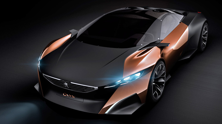 rides peugeot onyx concept car paris motor show copper newspaper wood perfume