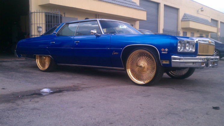 rides donk candy blue 1975 75 chevrolet chevy carprice gold dayton wires 24 inch