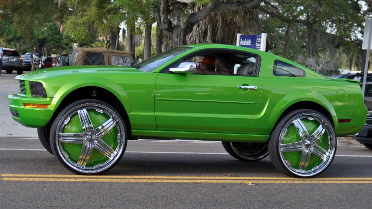 rides green mustang rims 30-inch donk linny j
