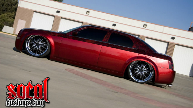 rides red 2006 chrysler 300 socal customs house of kolor candy apple red silver