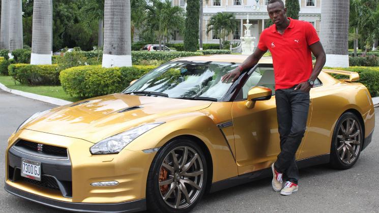Usain Bolt Gold Nissan GT-R rides
