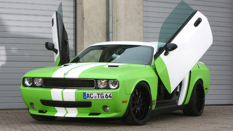 green dodge challenger SRT8 rides