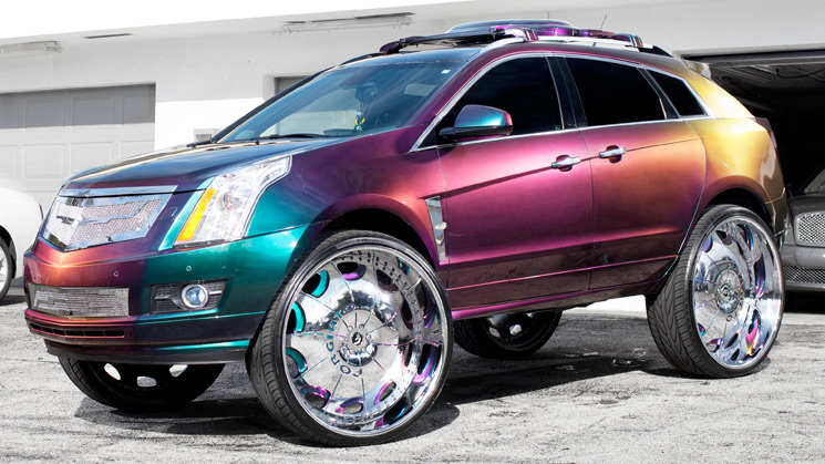 rides magazine chameleon flip flop paint cadillac caddy srx chrome forgiato suicide doors rides magazine custom car