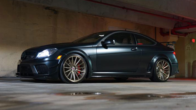 rides magazine vossen wheels matte mercedes benz amy black series c class c63 wide body