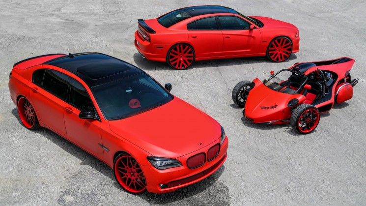bmw bimmer 7 series maglia dodge charger hemi dito t rex 3 wheeler matte red triple threat tate design rides magazine