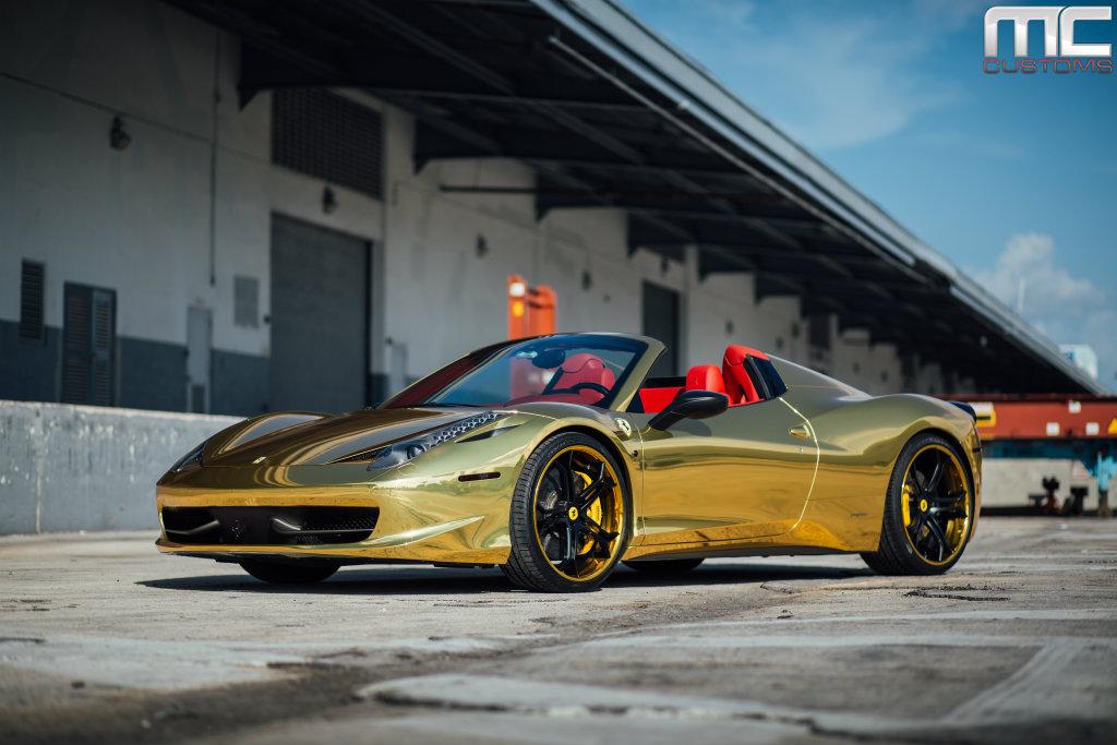 2014 Ferrari 458 Spider >> Robinson Cano's Gold Ferrari 458 Italia Spider On Vellano Wheels By MC Customs - Rides Magazine