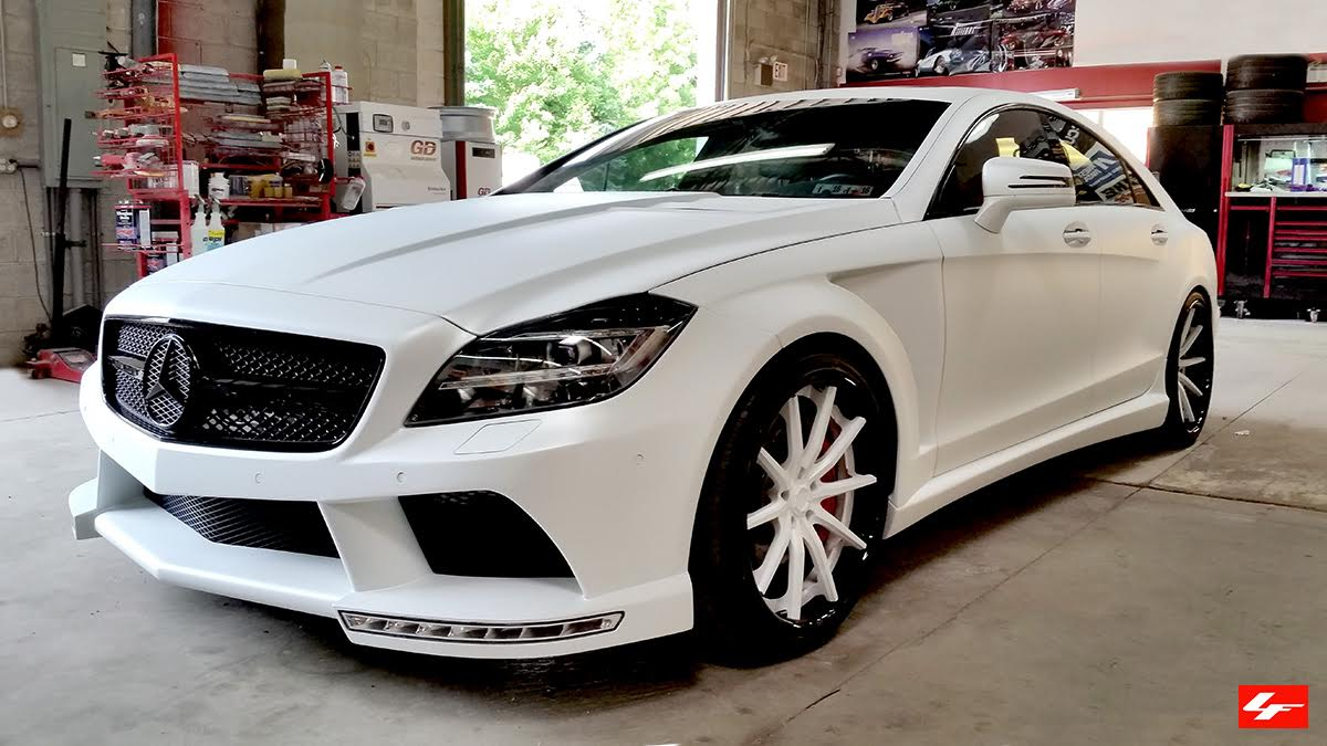 Satin white mercedes benz cls63 amg on lexani wheels for 24 inch mercedes benz rims