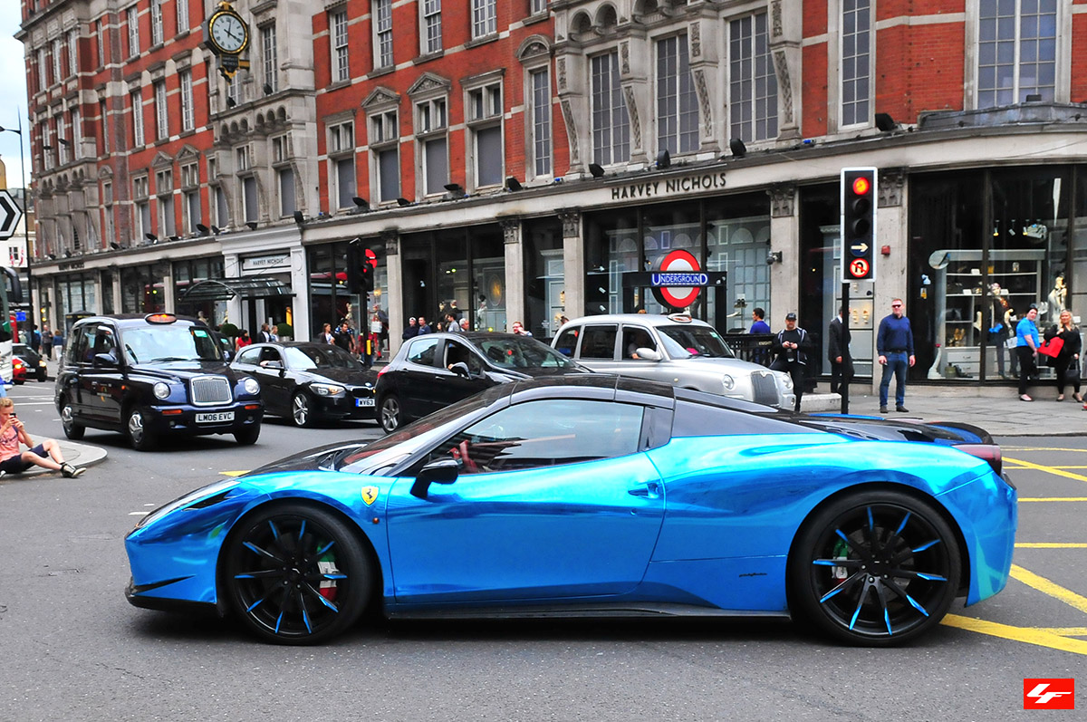 Blue Chrome Ferrari 458 Italia On Lexani Wheels In London