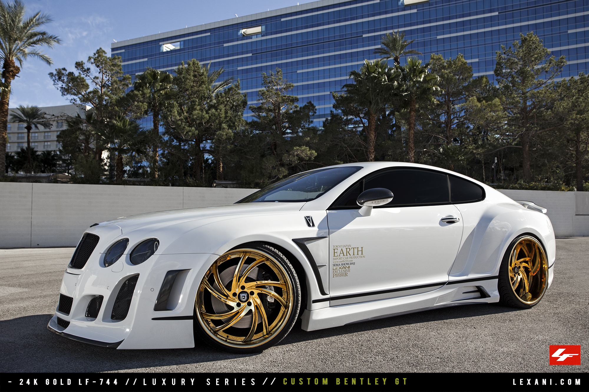 Satin White Bentley Gt On Gold 22 Inch Lexani Forged