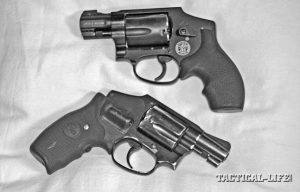 "Once you find a carry gun that works for you, get another for a spare. These ""hammerless"" S&W J-frame lightweights are M340 M&P with Hogue Bantam grips, top, and a M442 Airweight with Crimson Trace Lasergrips, below."