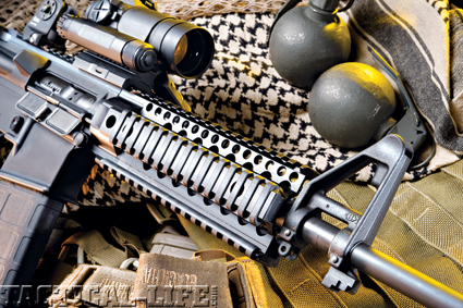 The free-floated Omega X rail forend lines up flush with the rail of the upper receiver.