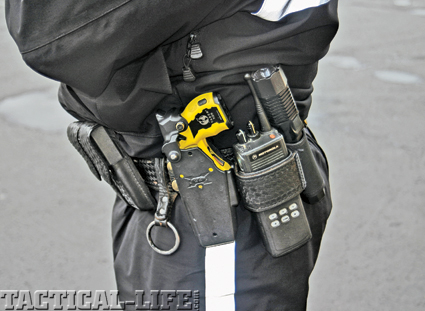 Taser has prevented countless deaths  and injuries. This deputy's is positioned  for non-dominant hand deployment.