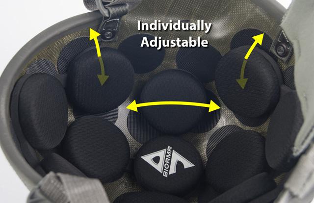 A7 Helmets BioRMR ASH21 individually adjustable pads