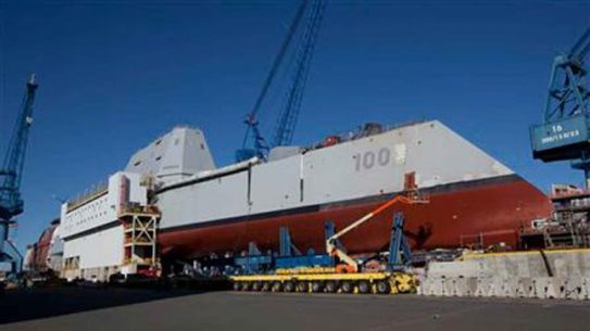 Zumwalt Class Stealth Destroyer Hits the Water