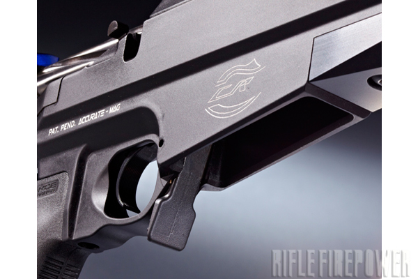 The M2012 accepts five- or 10-round Accurate-Mag and AICS-pattern magazines. Note the ambi­dextrous mag release.