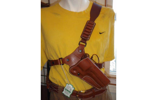 Diamond D Custom Leather Chest Holster - as worn