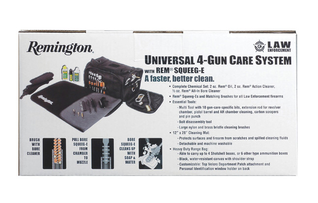 Remington RLE Universal 4-Gun Cleaning System Rear Panel