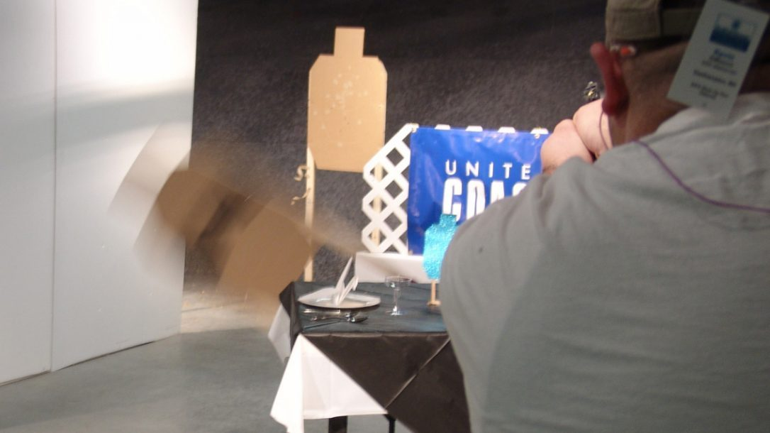 Smith & Wesson IDPA Back-Up Gun National Match - Shooters were challenged to hit the rear target with five shots but not hit the swinging no-threat.
