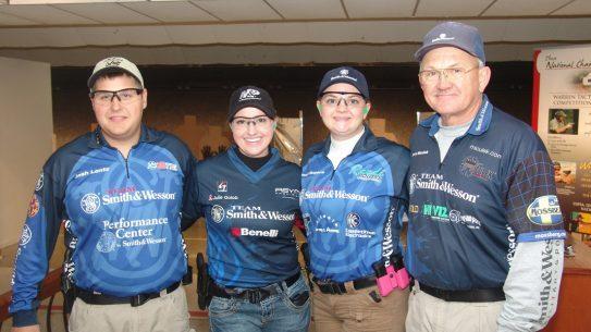 Smith & Wesson IDPA Back-Up Gun National Match - Team S&W left to right - Josh Lentz, Julie Golob, Randi Rogers, Jerry Miculek