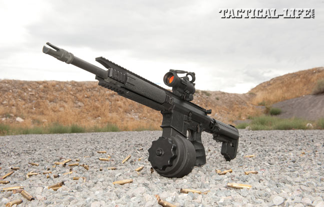 X Products' X-25 drum magazines offer 50 rounds of 7.62mm in a reliable, easy to load package. The author tested it in a 14.5-inch-barreled Primary Weapons Systems MK214 and experienced no malfunctions or issues.