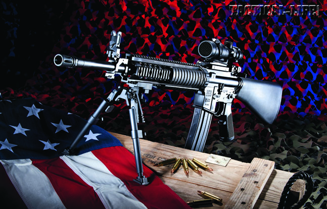 Built for Marines by Marines. The BCM SAM-R is completely Mil-Spec. With its KAC free-floating handguard, M4 feed ramps and a reliable rifle-length gas system, the SAM-R is a precision 5.56mm weapon made for America's bravest.