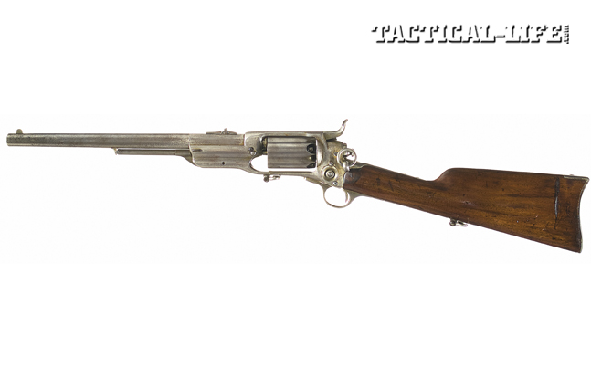 Colt's Model 1855 carbine was carried by U.S. and Confederate cavalry during the Civil War. Note the large saddle ring at the back of the frame for slings.