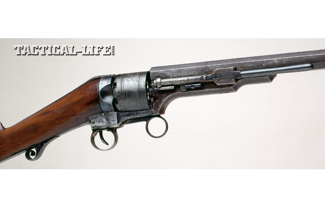 Colt's No.2 Ring Lever featured a barrel-lug-mounted loading lever. Operating the front lever rotated the cylinder to the next chamber and cocked the internal hammer. The example shown was valued between $30,000 and $40,000 in a 2003 Greg Martin auction.