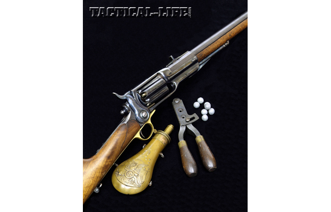 Colt's Sidehammer revolving rifles were offered in a variety of versions, including military rifles, sporting rifles, carbines and even shotguns. This .56-calilber Colt revolving rifle was built to order for Captain John R. Hegeman, Jr., who was a friend of Samuel Colt and Buffalo Bill Cody.