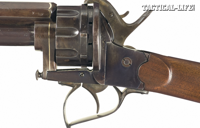 LeMat Pinfire carbines are extremely scarce. This example's upper barrel is chambered in .44-caliber pinfire. The lower barrel is rifled and chambered for .56-caliber percussion ammo.