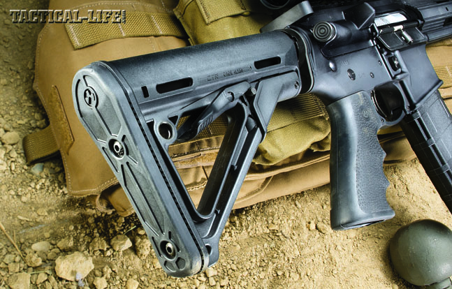 The author added the adjustable Magpul CTR stock, which features a streamlined A-frame profile and a friction lock system to minimize excessive movement.