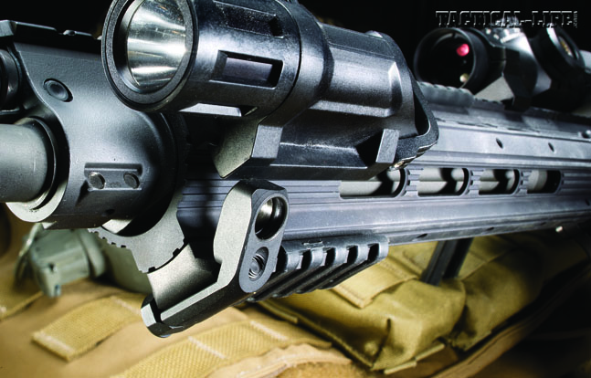 The SR-556 Carbine's ergonomic handguard is smooth, trim, light weight, extremely versatile and ergonomic.