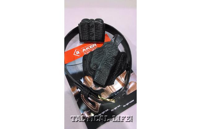 Aker International Black Label FlatSider XR12 sharkskin holster on the Concealed Carry Gunbelt and Carry Comp II sharkskin double magazine pouch.
